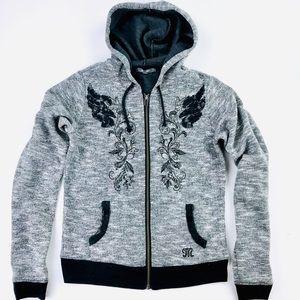 Miss me gray embellished zip up jacket